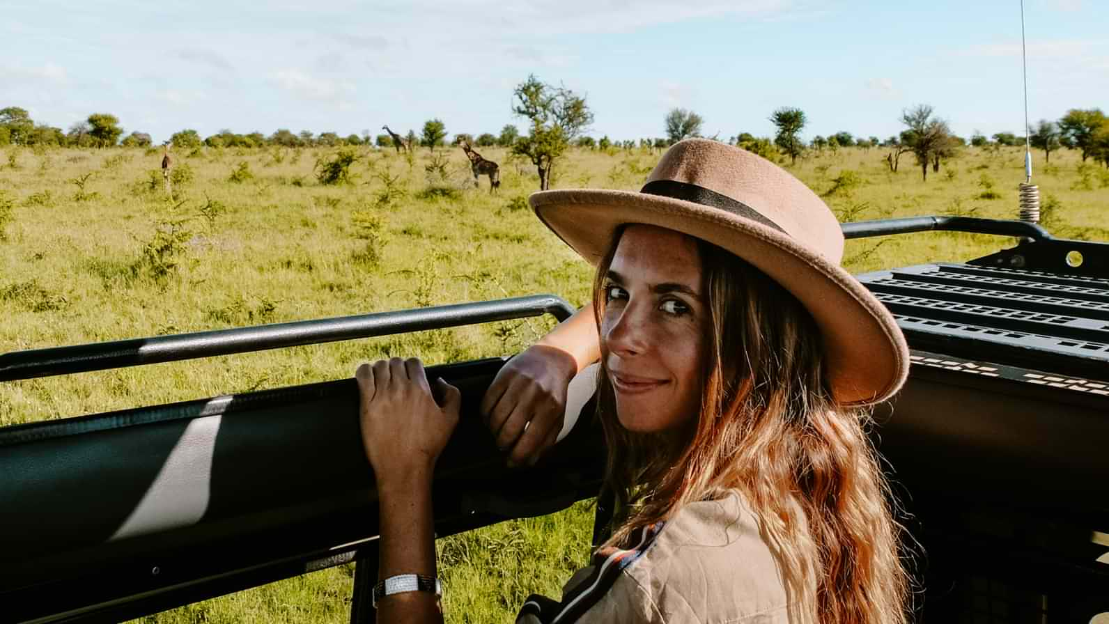 Watching wildlife, a small herd of giraffes, from the jeep in the Serengeti National Park, Tanzania