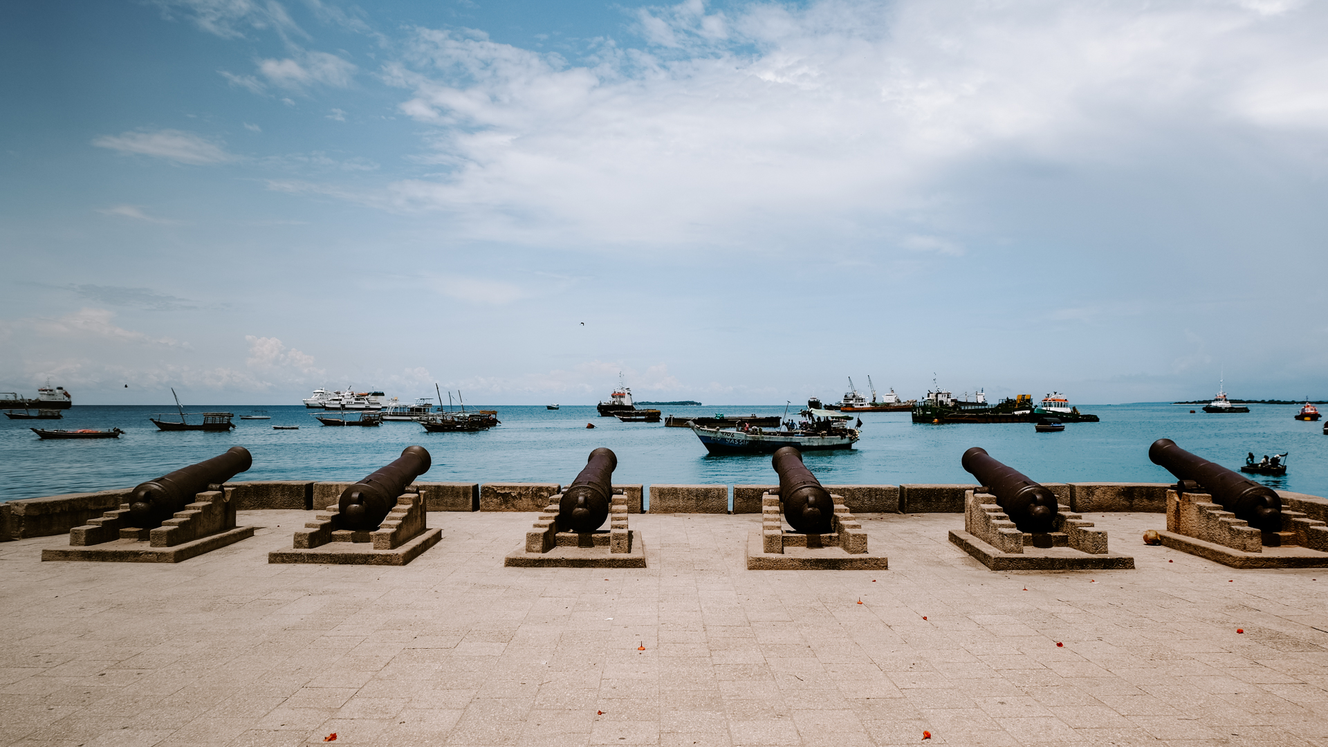 Old cannons at the waterfront of Stone Town in Zanzibar, Tanzania