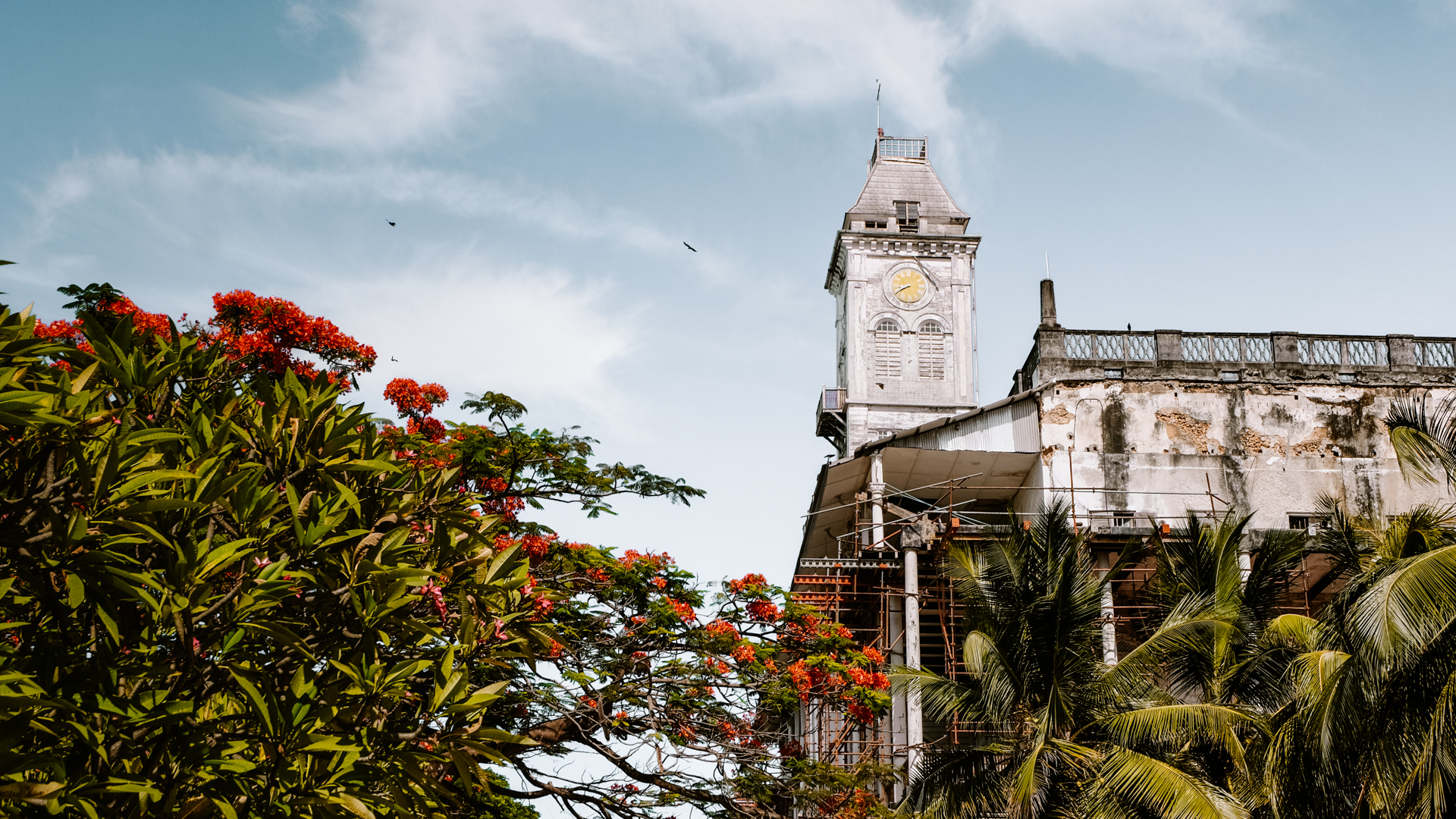 The bell tower of Beit-El-Ajaib, the House of Wonders, in Stone Town in Zanzibar, Tanzania